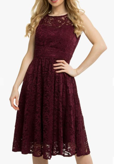 Jolie Moi Fit & Flare Lace Prom Dress, Burgundy