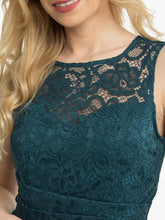 Load image into Gallery viewer, Jolie Moi Fit & Flare Lace Prom Dress, Dark Teal