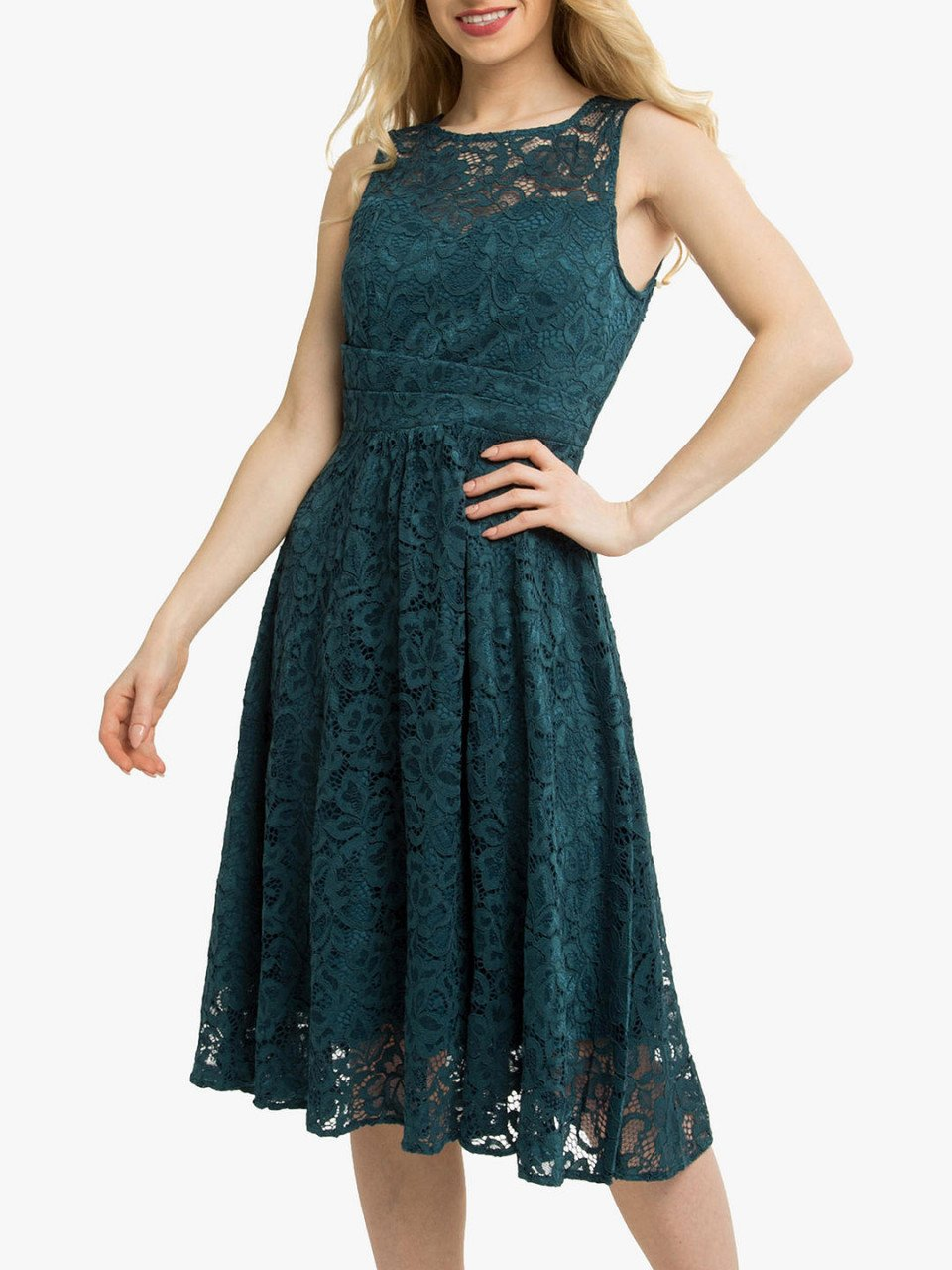 Jolie Moi Fit & Flare Lace Prom Dress, Dark Teal