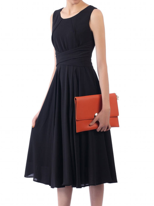 Jolie Moi Black Belted Fit And Flare Dress, Black
