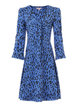 Load image into Gallery viewer, Jolie Moi Leopard Print Jersey Dress, blue