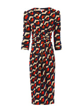 Load image into Gallery viewer, Jolie Moi Print Wrap Front Dress, Navy Geo