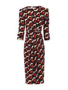 Jolie Moi Print Wrap Front Dress, Navy Geo