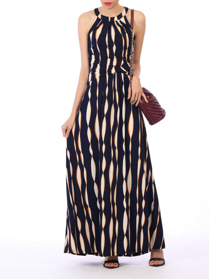 Wave Print Halter Neck Maxi Dress, Navy Wave