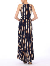 Load image into Gallery viewer, Wave Print Halter Neck Maxi Dress, Navy Wave