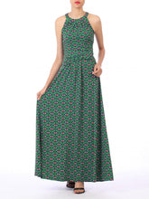 Load image into Gallery viewer, Jolie Moi Geometric Print Halter Neck Maxi Dress, Green Geo