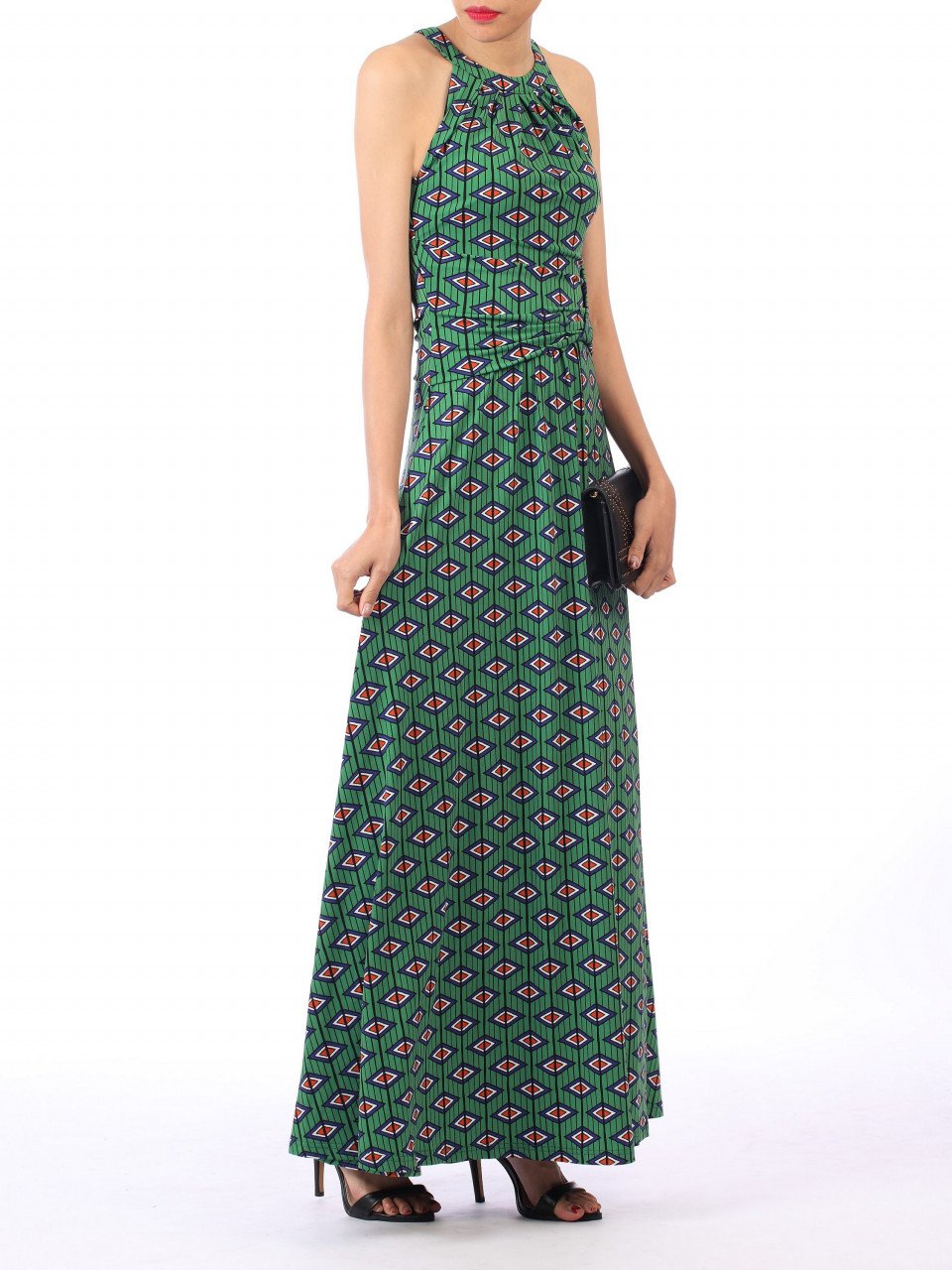 Jolie Moi Geometric Print Halter Neck Maxi Dress, Green Geo