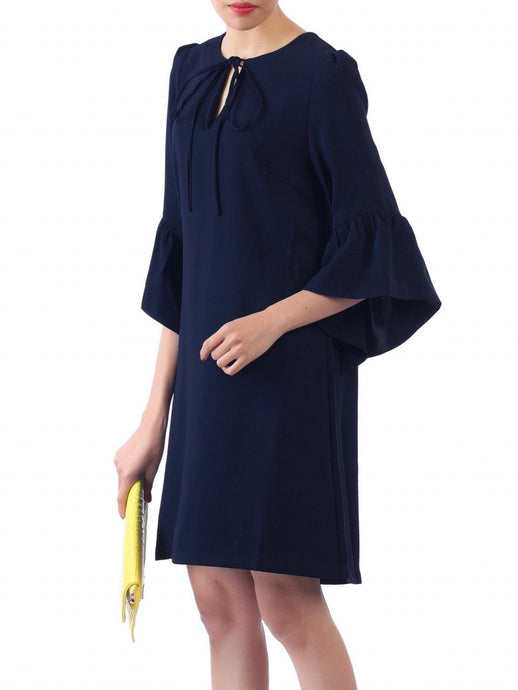 Jolie Moi Flare Sleeve Tunic Dress, Navy