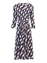Load image into Gallery viewer, Jolie Moi Wrap Front Belted Dress, Navy Geo