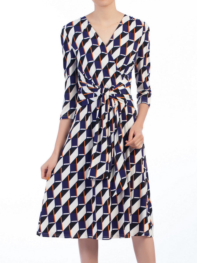Jolie Moi Wrap Front Belted Dress, Navy Geo