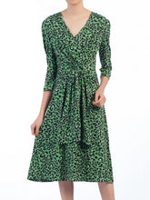 Load image into Gallery viewer, Jolie Moi Wrap Front Belted Dress, Green/Multi