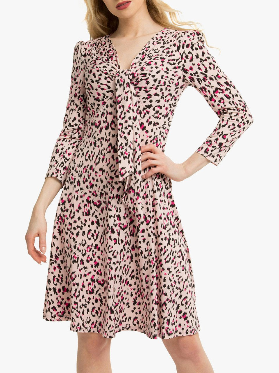 Jolie Moi Tie Front Animal Print Dress, Pink/Multi
