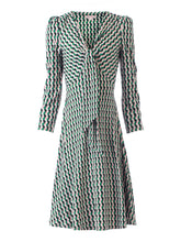 Load image into Gallery viewer, Jolie Moi Tie Front Sleeved Dress, Green/Multi