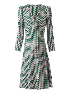 Jolie Moi Tie Front Sleeved Dress, Green/Multi