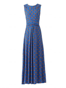 Print Roll Collar Dress, Blue/Multi