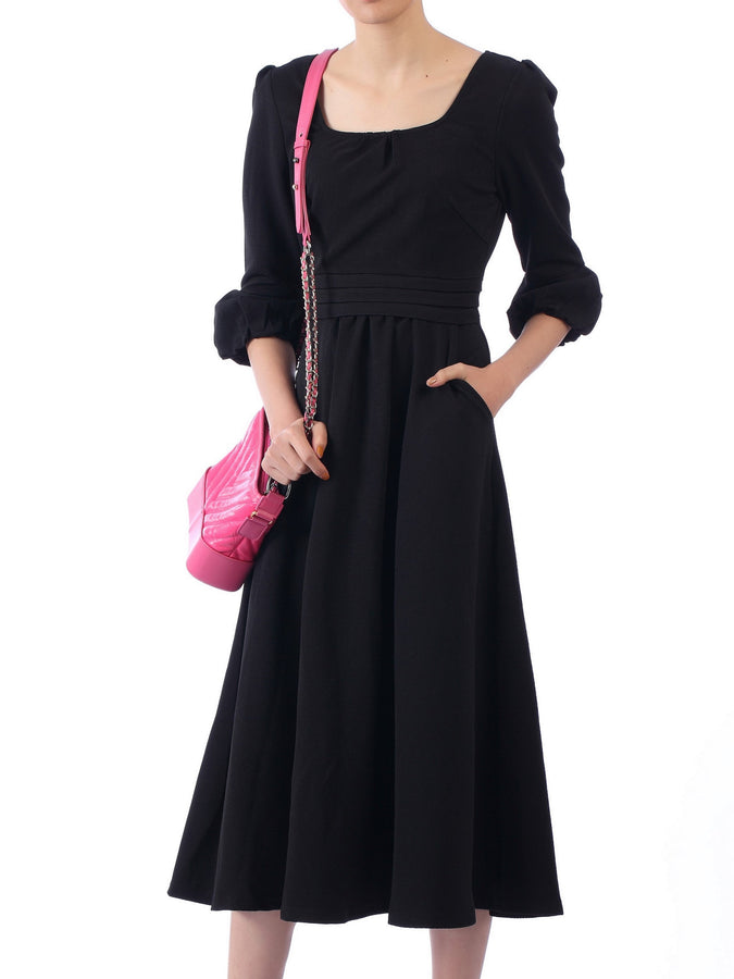 Bell Sleeve Flare Midi Dress, Black