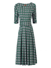 Load image into Gallery viewer, Jolie Moi Flared Puff Sleeve Midi Dress, Green Geo