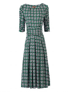 Jolie Moi Flared Puff Sleeve Midi Dress, Green Geo