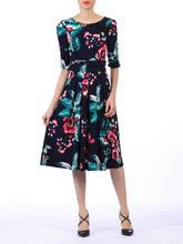 Load image into Gallery viewer, Floral Print Midi Viscose Dress, Navy