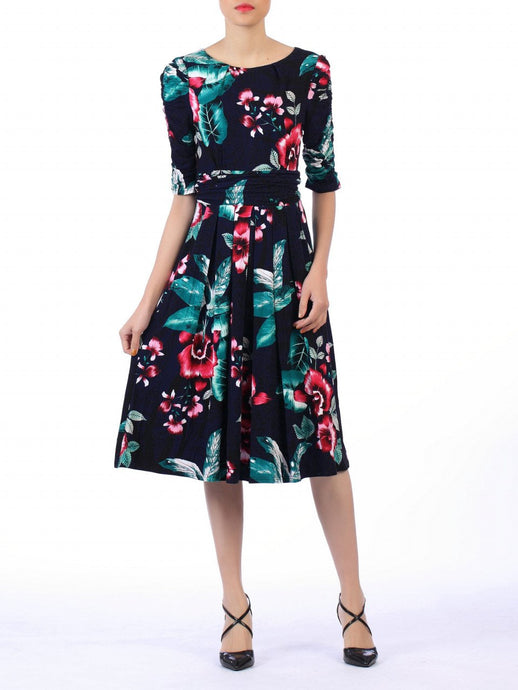 Floral Print Midi Viscose Dress, Navy