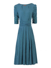 Load image into Gallery viewer, Jolie Moi Flared Puff Sleeve Midi Dress, Blue Geo