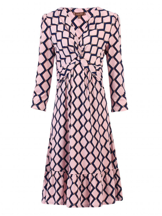 Twist Front Abstract Print Flare Dress