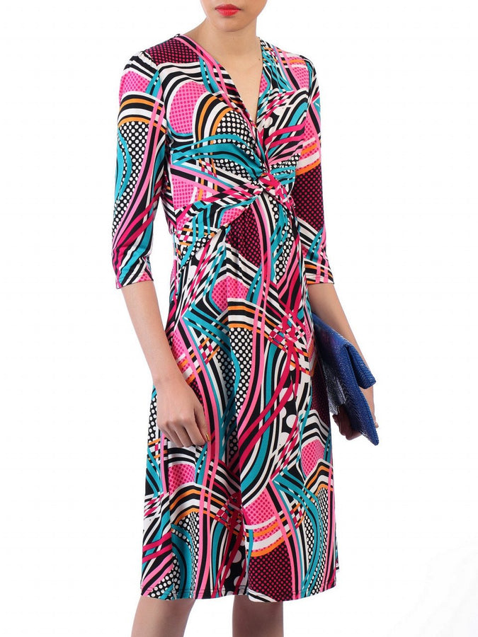 Jolie Moi Twist Front Sleeved Dress, Pink/Multi
