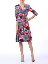 Load image into Gallery viewer, Jolie Moi Twist Front Print Dress, Pink/Multi