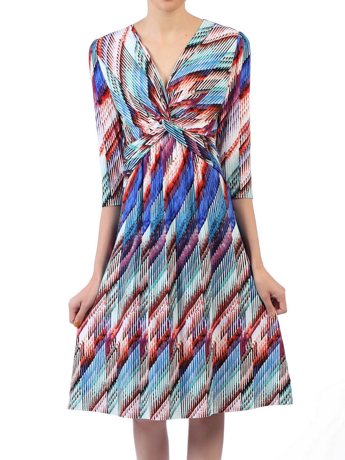 Twisted Front Viscose Dress, Blue Multi
