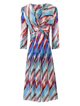 Load image into Gallery viewer, Jolie Moi Twist Front Print Dress, Blue Multi