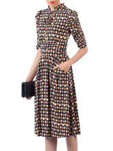 Load image into Gallery viewer, Jolie Moi Print Tie Neckline Midi Dress, Black/Multi