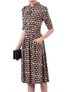 Jolie Moi Print Tie Neckline Midi Dress, Black/Multi