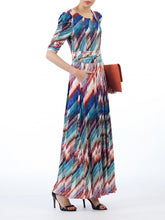 Load image into Gallery viewer, Jolie Moi Half Sleeve Print Maxi Dress, Blue Multi
