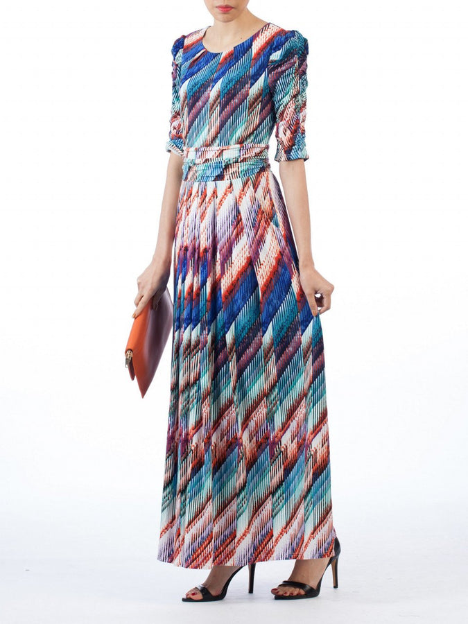 Jolie Moi Half Sleeve Print Maxi Dress, Blue Multi