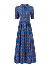 Load image into Gallery viewer, Jolie Moi Tie Collar Printed Maxi Dress