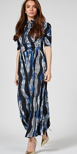 High Neck Tie Front Maxi Dress, Black Multi