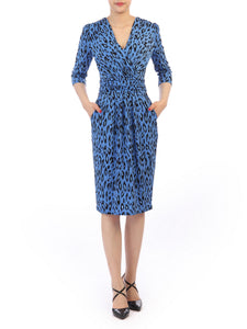 Leopard Printed Wrap Knee Length Dress, Blue Multi