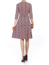 Load image into Gallery viewer, Jolie Moi Twist Front Print Dress, Red Multi