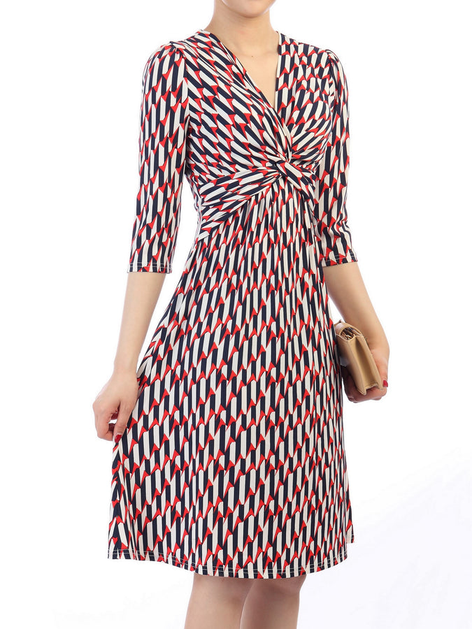 Printed Twisted Front Dress, Red Multi