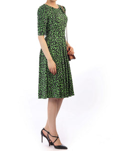 Jolie moi Print 1/2 Sleeve Dress, Green Multi
