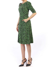 Load image into Gallery viewer, Jolie moi Print 1/2 Sleeve Dress, Green Multi