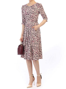 Jolie Moi Leopard Printed Elbow Sleeve Midi Dress, Taupe Multi