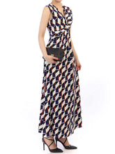 Load image into Gallery viewer, Jolie Moi Twist Front Maxi Dress, Navy Multi