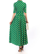 Load image into Gallery viewer, Tie Collar Printed Maxi Dress