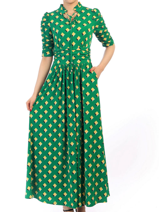 Jolie Moi Tie Collar Printed Maxi Dress, Green Multi