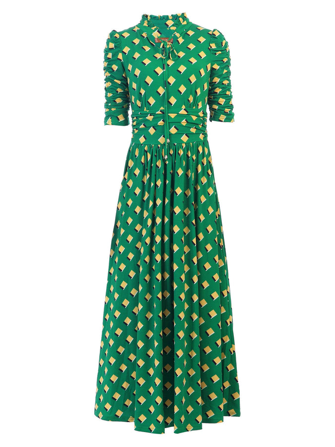 Jolie Moi Tie Collar Printed Maxi Dress