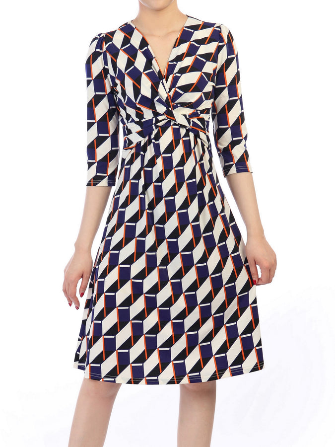 Jolie Moi Twisted Knot Dress, Navy Geo