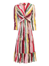 Load image into Gallery viewer, Jolie Moi Anita Twist Front Ruffle Hem Dress, Pink Multi