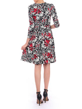 Load image into Gallery viewer, Jolie Moi Print Long Sleeve Tie Front Dress, Black Multi