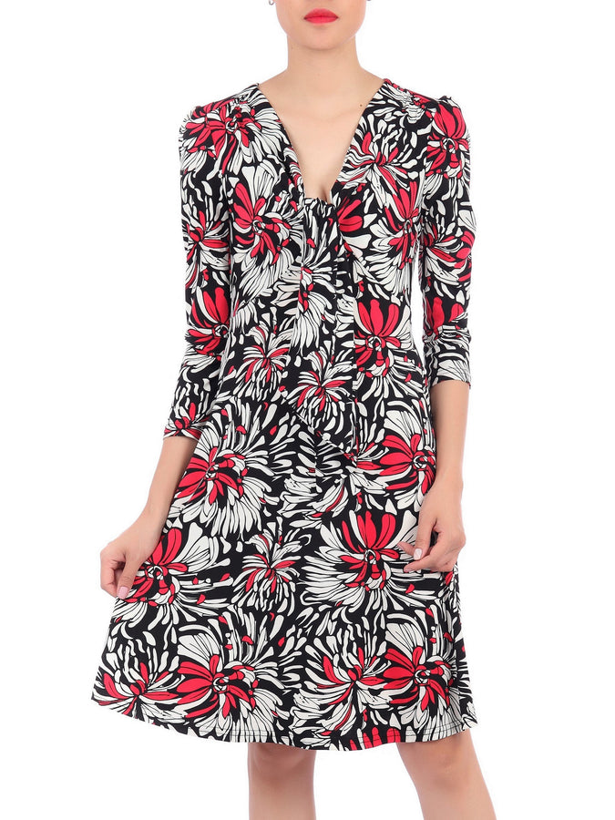 Jolie Moi Print Long Sleeve Tie Front Dress, Black Multi